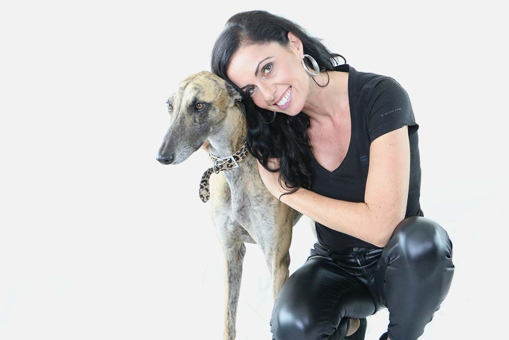 Naomi Stekelenburg and her greyhound